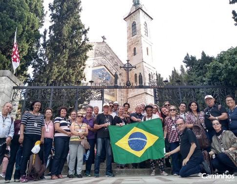 Família Caminhos na Igreja da Visitação, Jerusalém, Israel