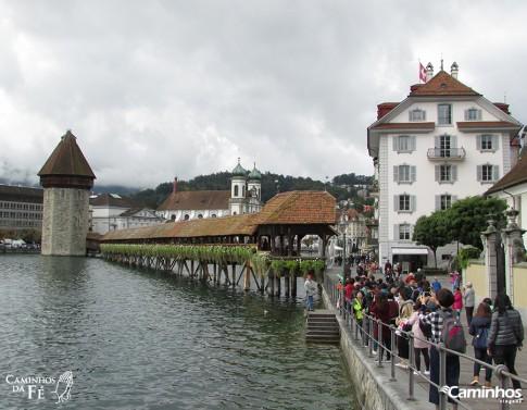 Ponte da Capela e Torre d'Água, Lucerna, Suíça