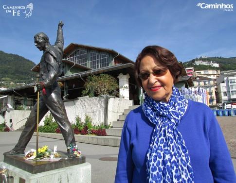 Estátua do cantor Freddie Mercury em Montreux, Suíça