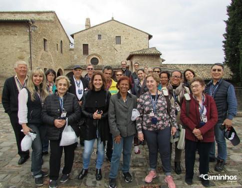 Família Caminhos no Santuário de São Damião, Assis, Itália